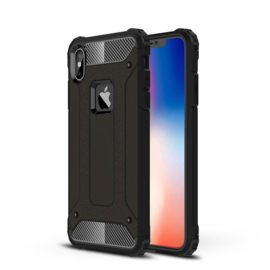 iPhone X  -  XS MAX - Hybrid Tough Armor-Case Bescherm-Cover Hoes - Zwart