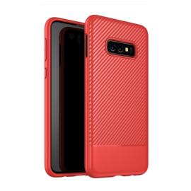 Samsung Galaxy S10e - Carbon TPU Bescherm-Hoes Skin - Rood
