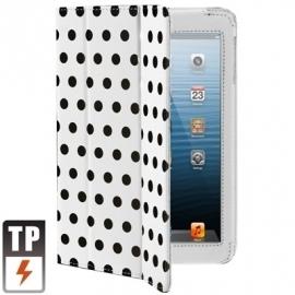 Dot Style PU Bescherm-Opberg Etui Hoes voor iPad Mini  Wit/Zwart