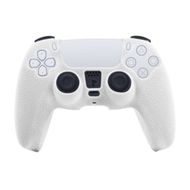 Leer-Look Silicone Hoes / Skin voor Playstation 5 - PS5 Controller    Wit