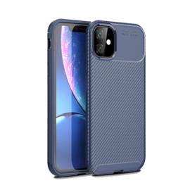 Luxe TPU Carbon  Bescherm-Hoes  voor iPhone 12 Pro     Blauw