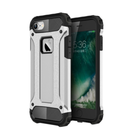 iPhone 7 of 8 - Hybrid Tough Armor-Case Bescherm-Cover Hoes - Zilver