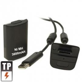 Oplaadkit Accu + USB Kabel voor de XBOX 360 Controller  Zwart