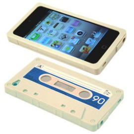 Silicone Bescherm-Hoes Skin voor iPod Touch 4 - 4G.   Tape Wit
