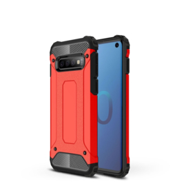 Samsung Galaxy S10 - Hybrid  Armor-Case Bescherm-Cover Hoes - Rood