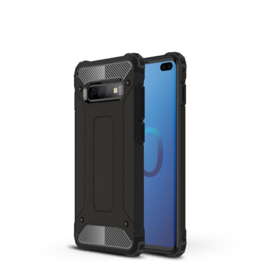 Samsung Galaxy S10 Plus - Tough  Armor-Case Bescherm-Cover Hoes Skin - Zwart