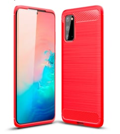 Samsung Galaxy S20 - Carbon TPU Bescherm-Hoes Skin - Rood
