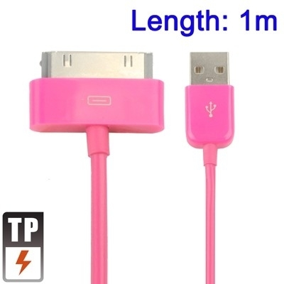 USB 2.0 Data en oplaad Kabel voor Apple iPad  1m.  Magenta
