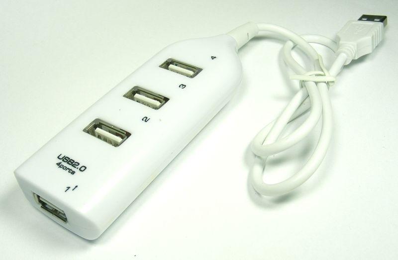 USB 2.0 4-Poort  USB HUB Wit