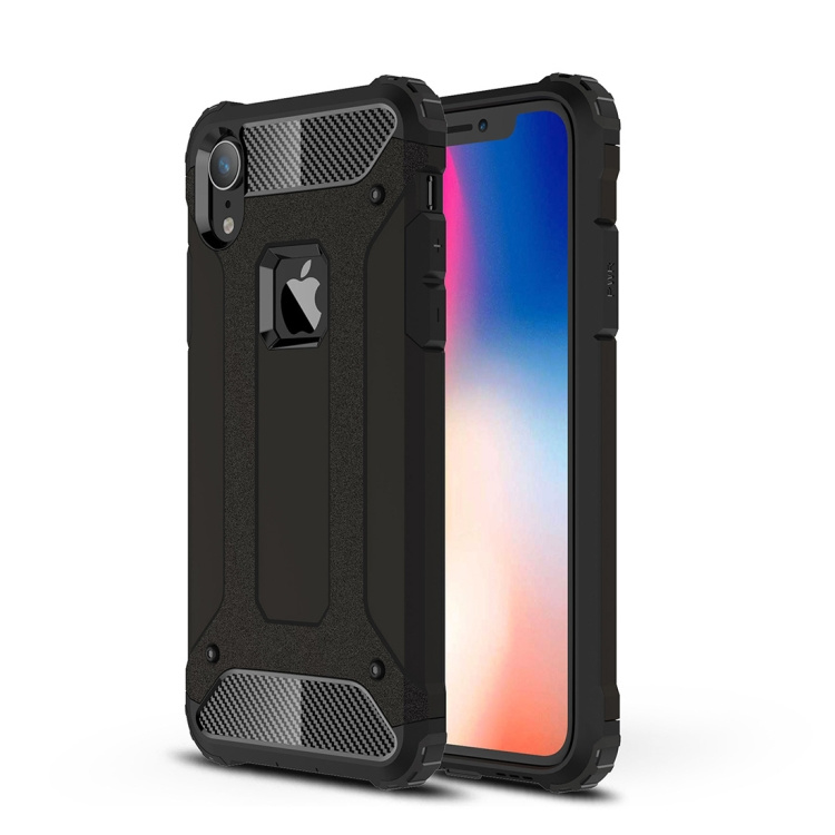 iPhone XR - Hybrid Tough Armor-Case Bescherm-Cover Hoes - Zwart