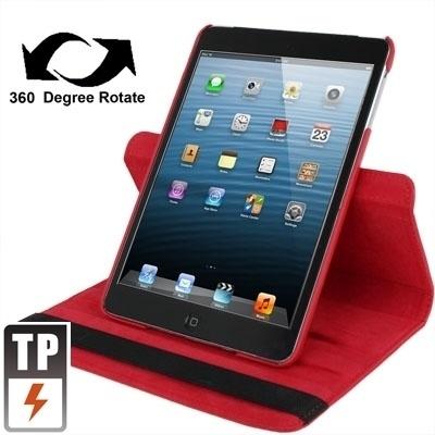 360º PU Bescherm-Cover Hoes Etui voor iPad Mini 1 - 2 - 3  Rood