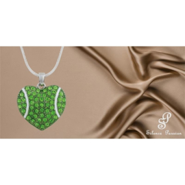 Silent Passion Heart-Charm Ball with Necklace, Green/White