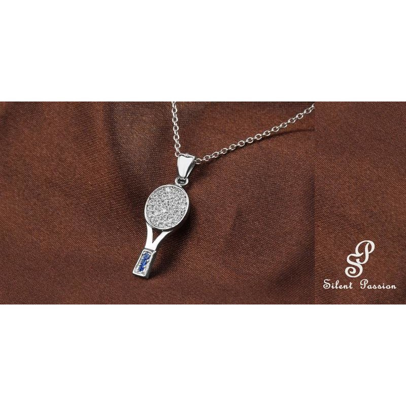 Silent Passion Tennis Racket Charm, 925 Silver with Rhinestones