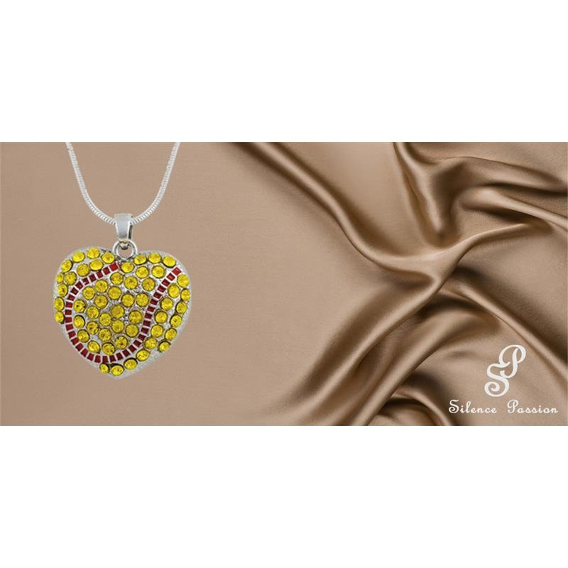 Silent Passion Heart-Charm Ball with Necklace, Yellow/Red