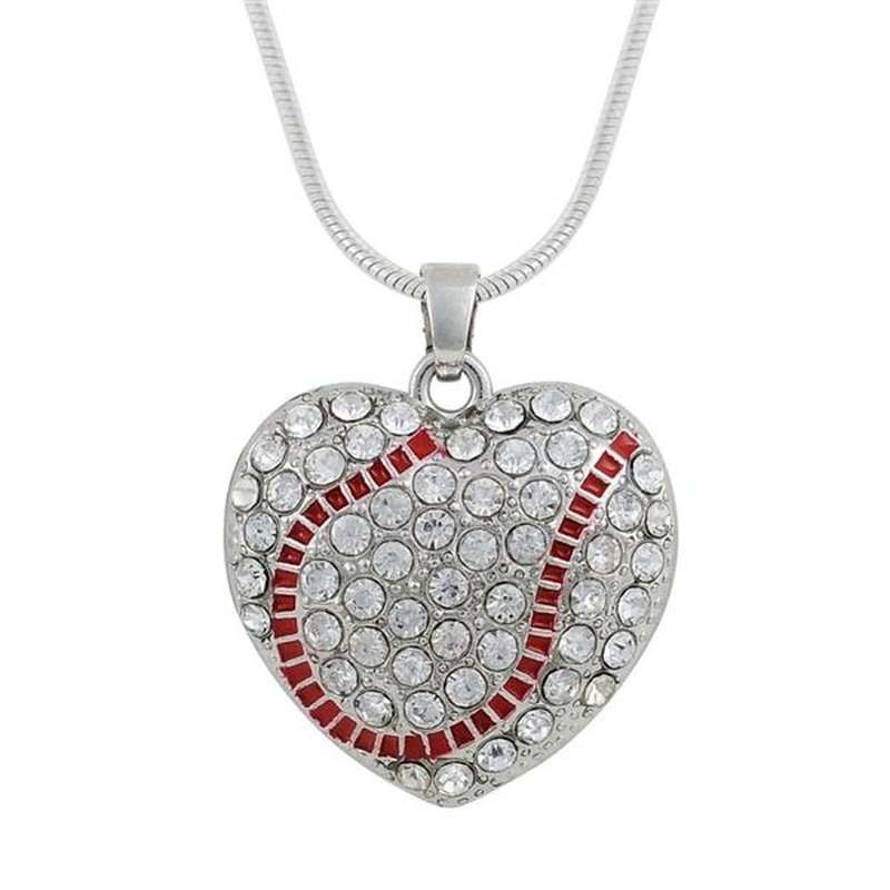 Silent Passion Heart-Charm Ball with Necklace, White/Red
