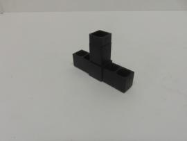 8509Verbindingshoek 3 pins recht zwart