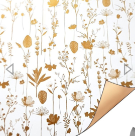 Inpakpapier   droogbloemen gold  30cm breed