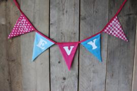 """Vlaggenlijn """"Evy"""" (turquoise/fuchsia)"""