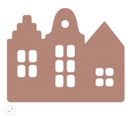 Sinterklaas | trapgevel huisjes terra/rose
