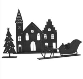 Kerstset   kerkje, slee en boompje