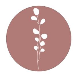 Muurcirkel leaves  roze 30cm