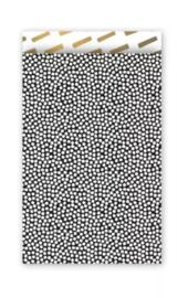 Cadeauzakjes    Cozy cubes  zwart/wit 12x19cm (per 5)