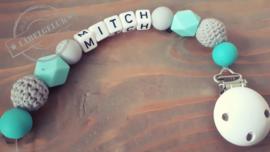 """Speenkoord """"Mitch"""" (mintgroen/grijs)"""