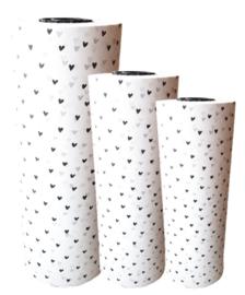 vloeipapier | hartjes zwart 30cm breed
