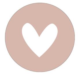 Muurcirkel hart oudroze 30cm