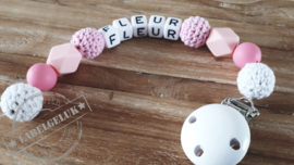 """Speenkoord """"Fleur"""" (roze/wit)"""