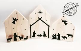 """Houten huisjes """"Kerststal"""" (set van 3 stuks)"""