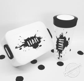 """Sticker voor op lunchbox-/beker """"verfspat"""""""
