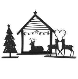 Kerstset   kerststal, kerstboom en hertjes