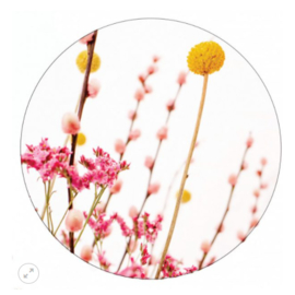 Muurcirkel pink en yellow flowers 40cm