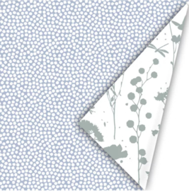 Inpakpapier | spring blauw/salie 30cm breed