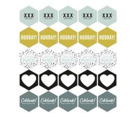 Sticker   6-hoek per 5 stuks