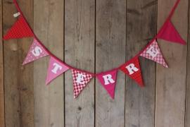 """Vlaggenlijn """"Sterre"""" (roze/fuchsia/rood)"""