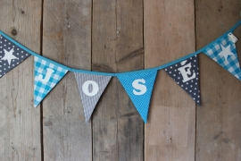 """Vlaggenlijn """"José"""" (turquoise/grijs)"""