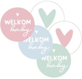 Sticker | welkom baby assorti 40mm (per 5)