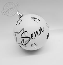 """Kerstbal """"Naam & Sterren"""" (plastic)"""