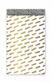 Cadeauzakjes    Cozy cubes  goud/wit 12x19cm (per 5)