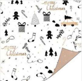 """Inpakpapier """"Kerst"""" zwart/rosegoud"""