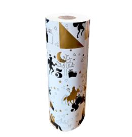 Inpakpapier   sinterklaas zwart/goud 30cm breed