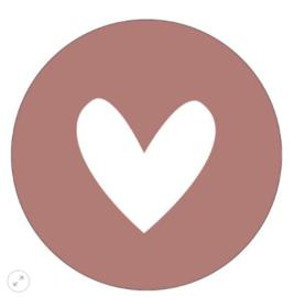 Muurcirkel hart roze 30cm