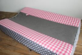 Aankleedkussenhoes roze/grijs