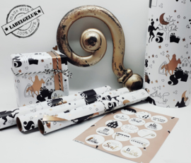 """Inpakpapier """"Sinterklaas"""" zwart/goud"""