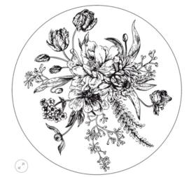 Muurcirkel bloemen zwart/wit 30cm