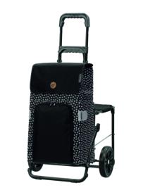 Opvouwbare boodschappenwagen met zitje, Komfort Shopper Mara Zwart