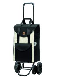 Boodschappenwagen met 4 wielen, ook om te duwen, Quattro Shopper Senta Wit