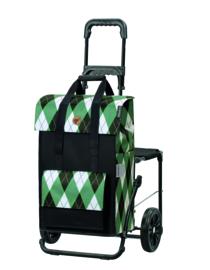 Opvouwbare boodschappenwagen met zitje, Komfort Shopper Ine Groen